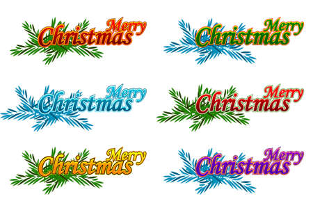 Merry Christmas. Happy New Year. Vector logo, emblems, text design. Usable for banners, greeting cards and gifts.