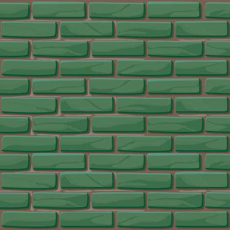Green Brick wall texture seamless. Vector illustration stones wall