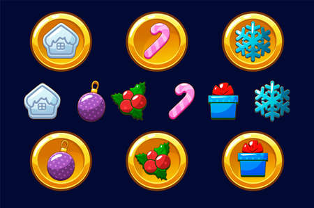 Merry Christmas golden coins. Happy New Year coin. Vector set icons for Assets 2D game