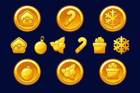 Merry Christmas golden coins. Happy New Year coin. Vector gold icons for Assets 2D game