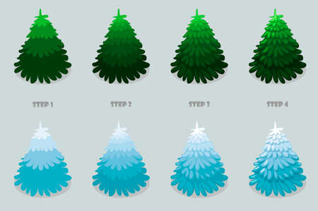 Christmas tree, cartoon design. Vector Christmas trees isolated 4 step by step drawing on gray background. 向量圖像