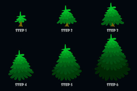 Green Christmas tree, cartoon design.Vector Christmas tree growth step by step. Every step on a separate layer.