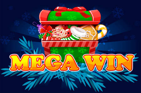 Christmas Mega Win. Screen background for 2D game and casino slots