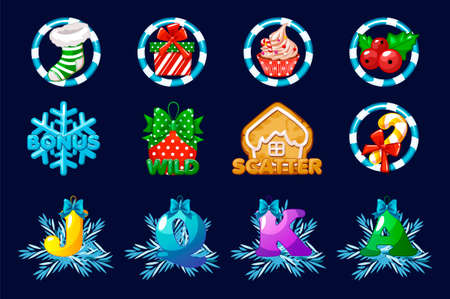 Christmas icons for slots. Complete set vector icons for casino slot game. 向量圖像