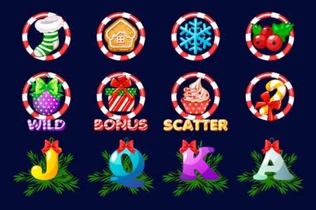 Complete set Christmas icons for slots. Vector icons for casino slot game 向量圖像