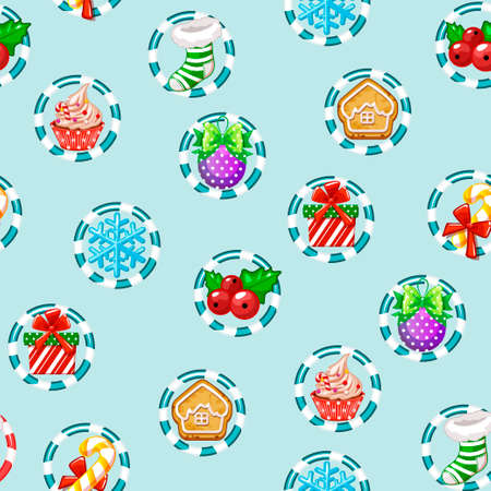 Christmas holiday seamless pattern with Happy New year icons. 版權商用圖片 - 133286310