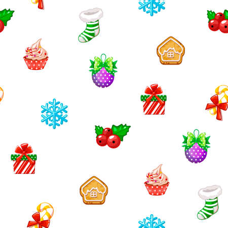 Seamless pattern with icons of Happy New Year and Christmas Day on white background 版權商用圖片 - 133286311