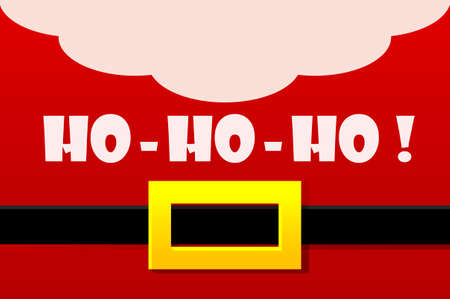 Red Santa Claus Costume, greeting card. HO-HO-HO. Vector illustration Happy New Year and Merry Christmas Day
