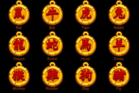 Chinese Red Zodiac signs hieroglyphs on gold medallion. Rat, bull, tiger, rabbit, dragon, snake, horse, ram, monkey, rooster, dog, boar. Golden amulet icons on a separate layer.