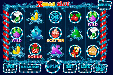 Christmas Slot, game UI interface and icons in blue color. Complete menu for casino game. Icons and buttons on a separate layer.