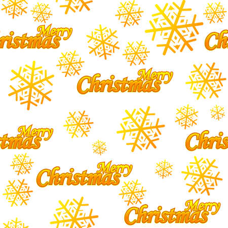 Seamless pattern Merry Christmas. Vector Golden logo and snow on white background
