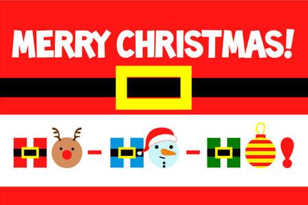 Merry Christmas, greeting card. HO-HO-HO. Vector illustration Happy New Year
