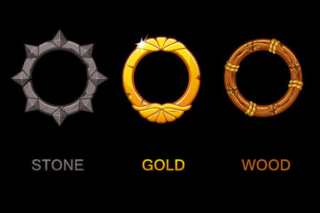 Set of improved Circle app icons, vector texture frames isolated, elements for UI game or web design