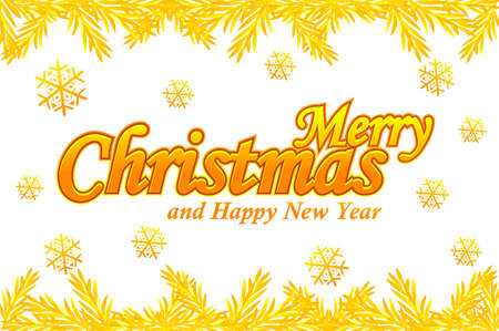 Merry Christmas, greeting card. Vector Golden logo, snow and Christmas tree on white background.