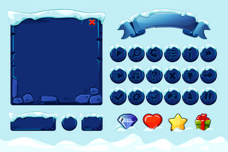 Winter game ui stones buttons with snow. Vector set stone assets, Interface, icons and buttons For Ui Game 版權商用圖片 - 133949541