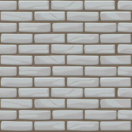Struttura del muro di mattoni bianchi senza soluzione di continuità. Illustrazione vettoriale muro di pietre in colore grigio.