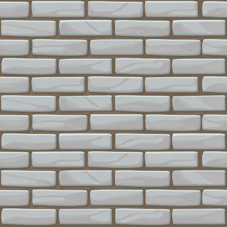 White Brick wall texture seamless. Vector illustration stones wall in grey color.