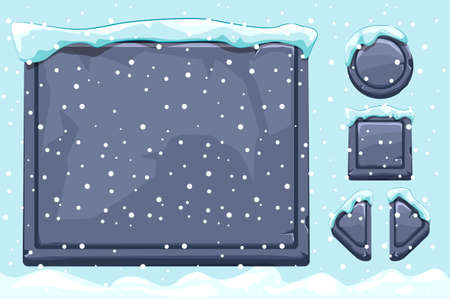 Snow covered stone assets and buttons For Ui Game. Winter game ui stones buttons with snow.