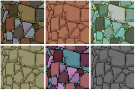 Set Flat Seamless stone textures. Stones background. Vector cartoon Seamless texture.