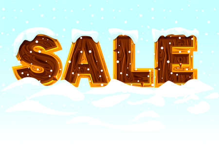Winter SALE. Wooden letters forming the word SALE on snow, banner for marketing. Çizim
