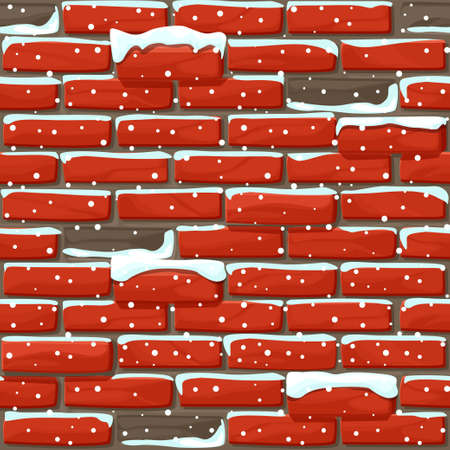 Snow covered brick wall texture seamless. Vector illustration stones wall 向量圖像