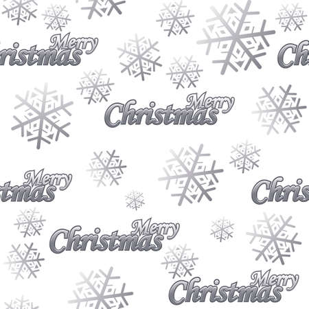 Seamless pattern Merry Christmas. Silver logo and snow on white background 向量圖像