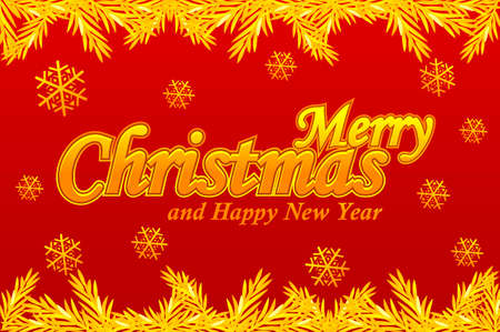 Merry Christmas, greeting card. Golden logo, snow and Christmas tree on red background 版權商用圖片 - 133949551