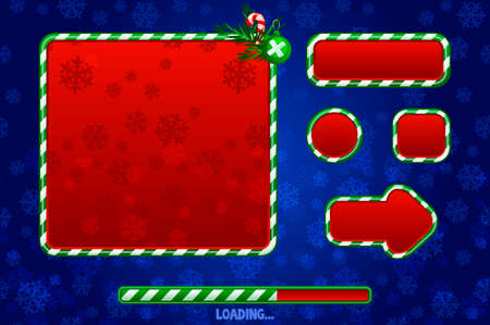 Christmas Game UI Utilities For UI Graphic Assets. Buttons, boards and frame. Game loading 版權商用圖片 - 133949552