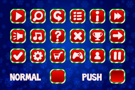 Christmas Buttons for Web and 2D Games UI. Normal and Push square button. 版權商用圖片 - 133949554