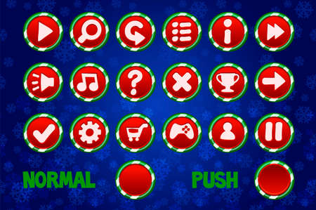 Christmas circle Buttons for Web and 2D Games UI. Normal and Push button. 版權商用圖片 - 133949555