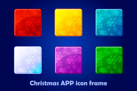 Merry Christmas and New Year Square App Icons background. Design Vector Colorful Frames 版權商用圖片 - 133949556