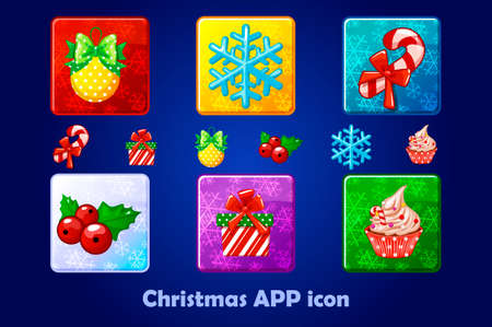 Merry Christmas and New Year Square App Icons Set. Design Vector Illustration. Winter Colorful Objects. Icons for Website and Mobile Application 向量圖像