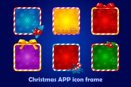 Background for the app icons, christmas set. New Year app icons Square frames