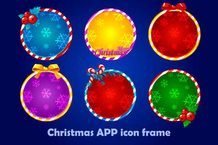 Background for the app icons, christmas set. New Year app icons circle frames