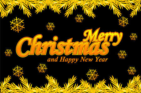 Merry Christmas, greeting card. Golden logo, snow and Christmas tree on black background