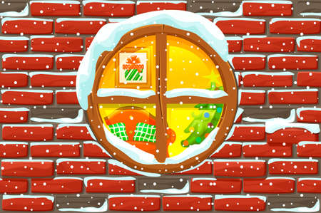 Christmas window in stone wall. lighted christmas tree Happy new year decoration. Merry christmas holiday. New year and xmas holiday.