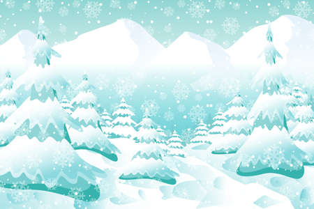 Christmas background, Snowy Woodland landscape. Holiday winter landscape for Merry Christmas, coniferous forest, snow and snowflakes. Happy new year. 版權商用圖片 - 134466205