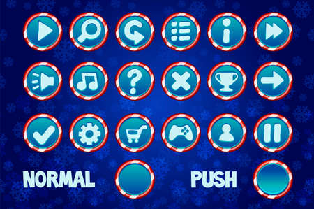 Set Christmas Buttons for Web and 2D Games UI. Normal and Push circle button.