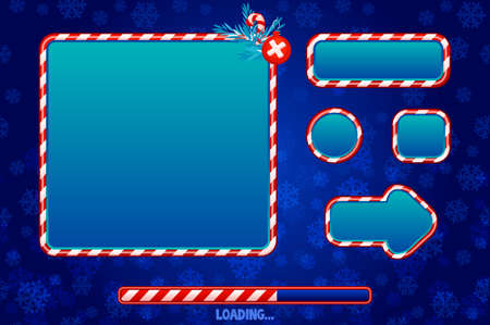 Christmas user interface and elements for game or web design. Buttons, boards and frame in red and blue. Game loading UI 版權商用圖片 - 134466206