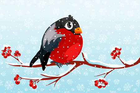Cartoon Bullfinch on branch Rowan tree under the snowfall. For Christmas decoration, posters, banners and winter sales. Vector illustration Winter season. Other object on separate layers 版權商用圖片 - 134559104