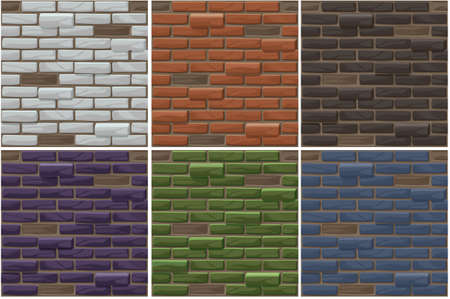 Vector old brick wall seamless background set. Different color brick textures collection