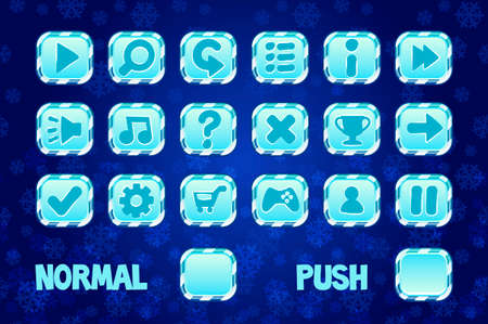 Christmas square Buttons for mobile or computer game design. Normal and Push button. Vector objects on a separate layer. Illustration