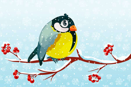Cartoon bird Tit on branch Rowan tree under the snowfall. For Christmas decoration, posters, banners and winter sales. Vector illustration Winter season. Vectores