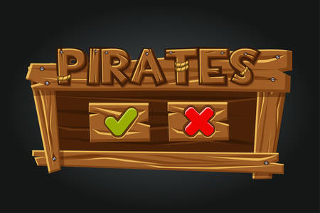 Game Pirates user interface play window. Buttons yes and closes.