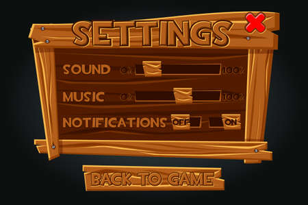 Wooden game graphic user interface, settings window. Ilustração