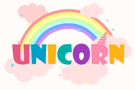 Logo or inscription unicorn with a bright rainbow. Illustration