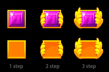 Step by step improvement of square gem and gold template.
