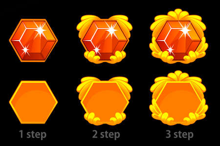 Set of step by step improvement of the gem icon and goldem template frame for the game. 일러스트