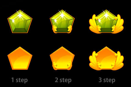 Set of step by step improvement of precious green stones.