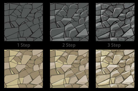 Set of seamless texture stone step by step drawing.
